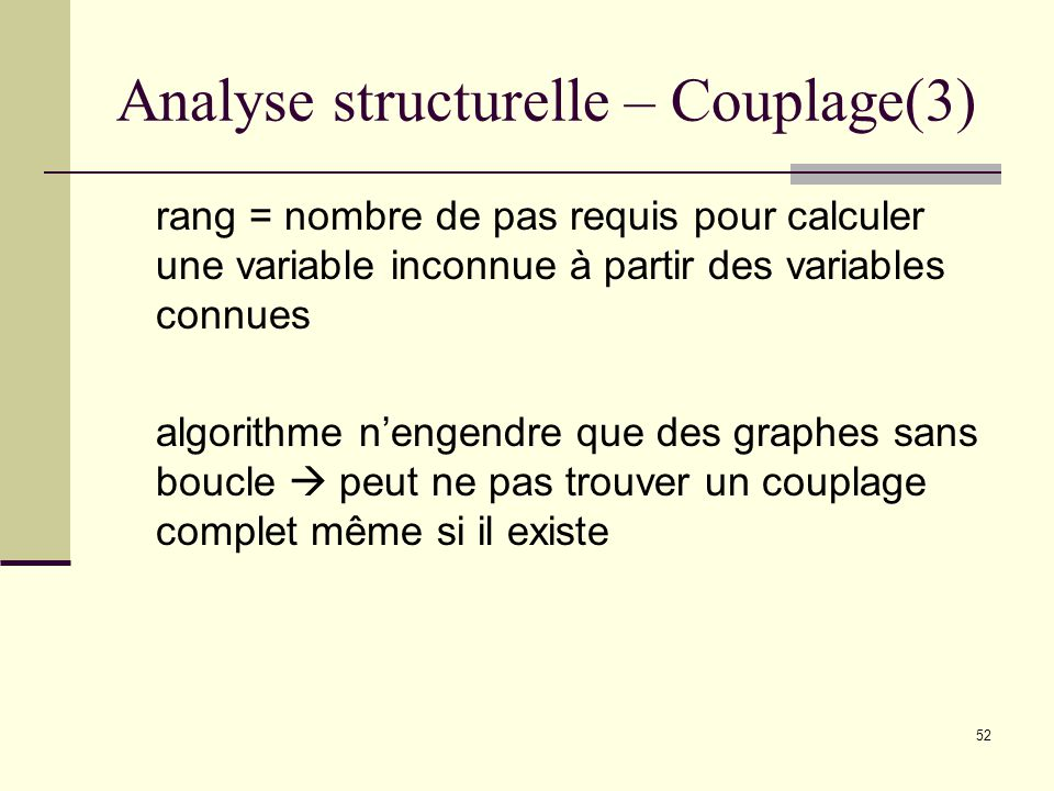 52 Analyse structurelle – Couplage(3) rang = nombre de pas requis pour calculer une variable inconnue à partir des variables connues algorithme nengen