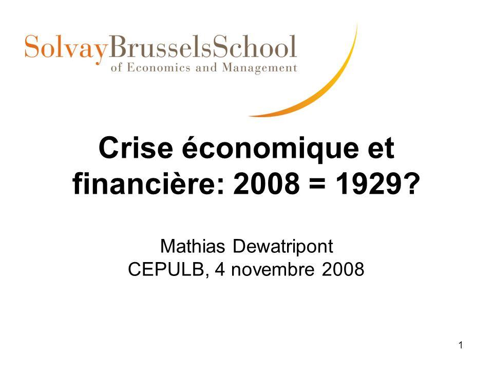 1 Crise économique et financière: 2008 = 1929? Mathias Dewatripont CEPULB, 4 novembre 2008