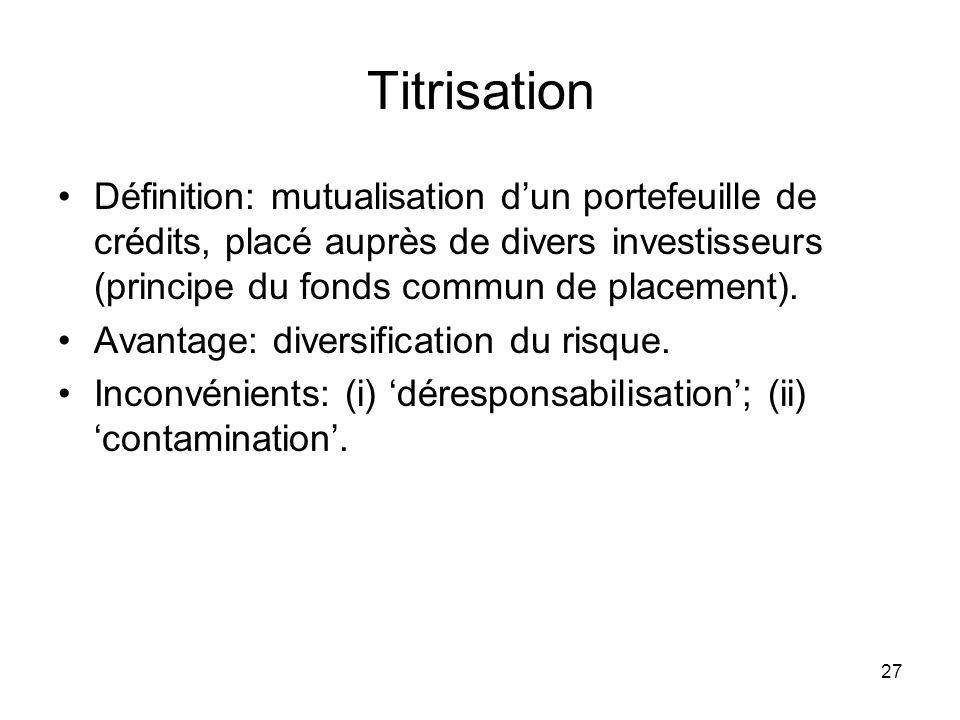 27 Titrisation Définition: mutualisation dun portefeuille de crédits, placé auprès de divers investisseurs (principe du fonds commun de placement). Av
