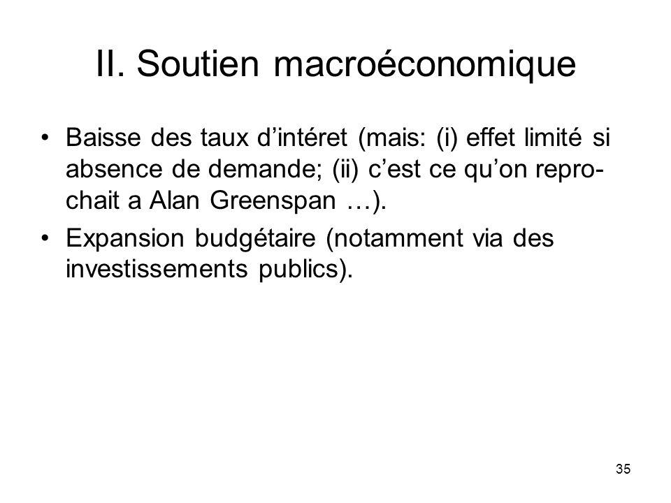 35 II. Soutien macroéconomique Baisse des taux dintéret (mais: (i) effet limité si absence de demande; (ii) cest ce quon repro- chait a Alan Greenspan
