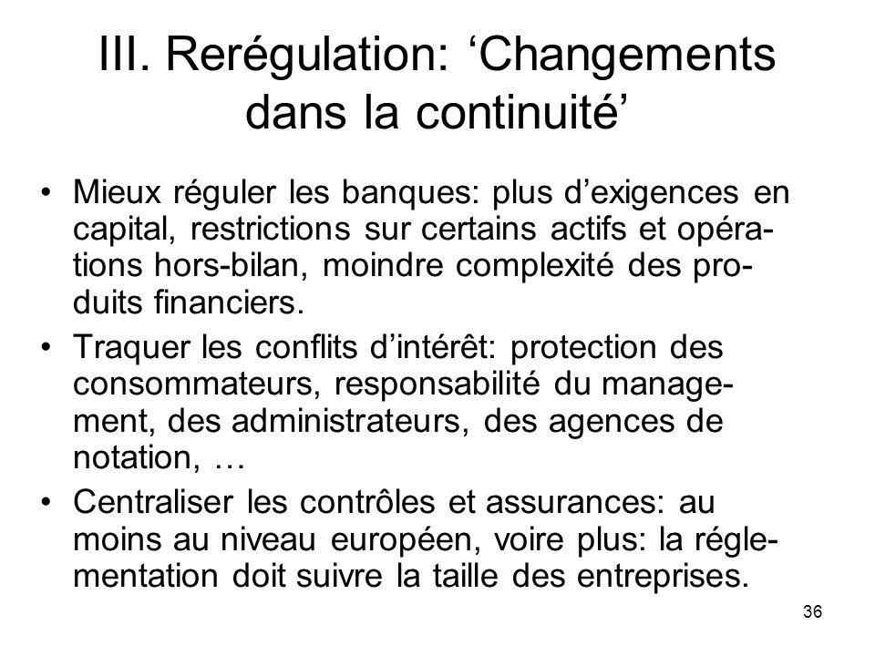 36 III. Rerégulation: Changements dans la continuité Mieux réguler les banques: plus dexigences en capital, restrictions sur certains actifs et opéra-