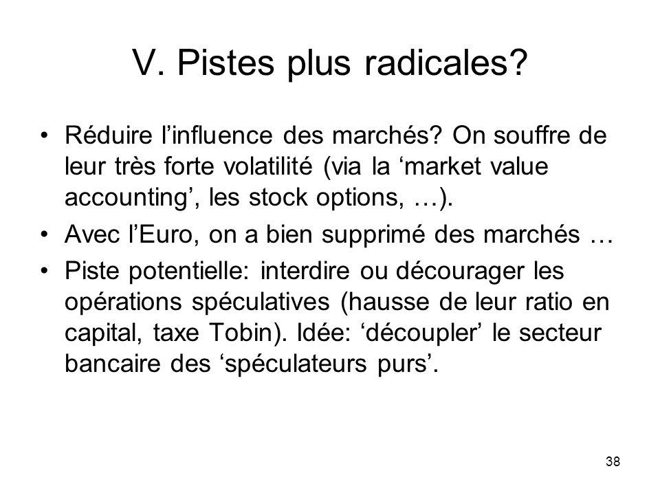 38 V. Pistes plus radicales? Réduire linfluence des marchés? On souffre de leur très forte volatilité (via la market value accounting, les stock optio