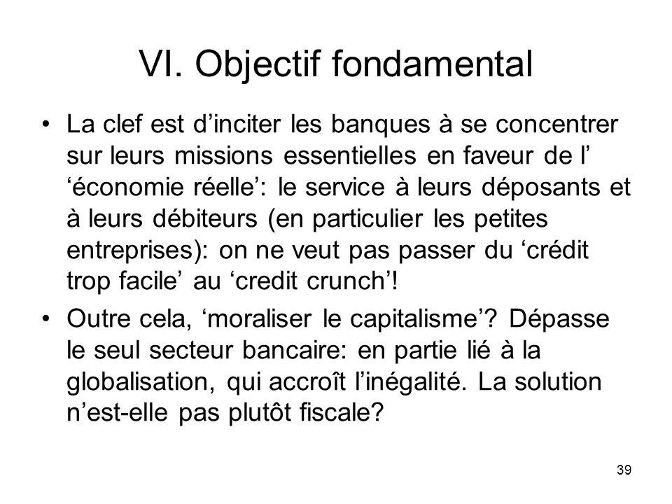 39 VI. Objectif fondamental La clef est dinciter les banques à se concentrer sur leurs missions essentielles en faveur de léconomie réelle: le service