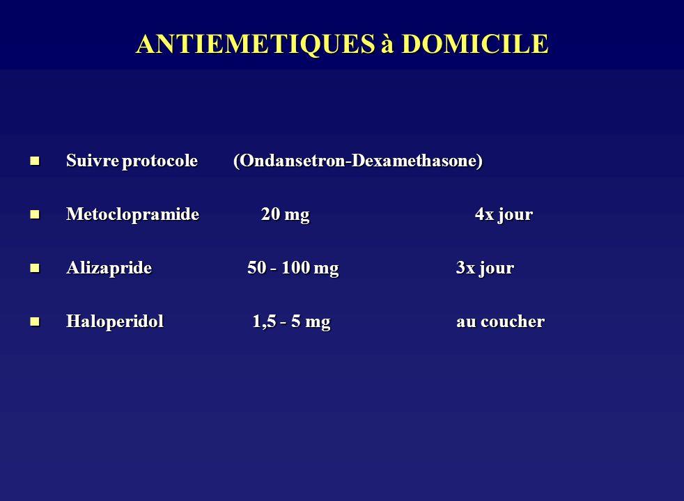 ANTIEMETIQUES à DOMICILE n Suivre protocole (Ondansetron-Dexamethasone) n Metoclopramide 20 mg4x jour n Alizapride 50 - 100 mg 3x jour n Haloperidol 1