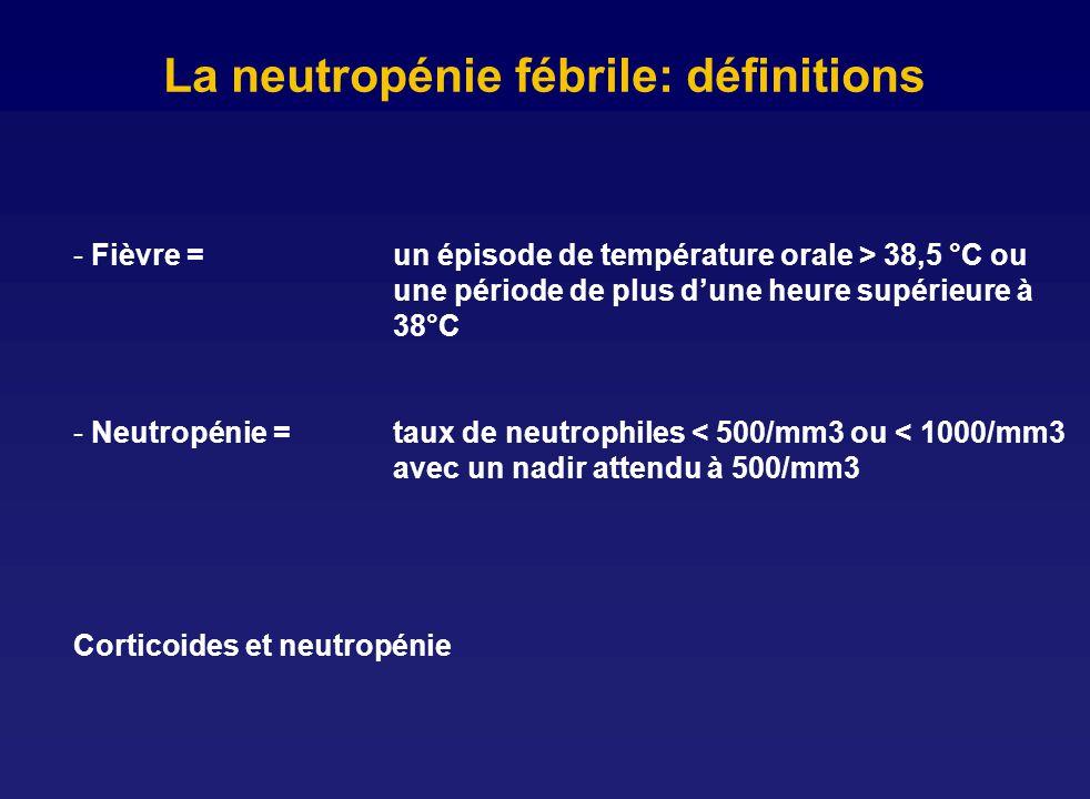 La neutropénie fébrile: définitions - Fièvre = un épisode de température orale > 38,5 °C ou une période de plus dune heure supérieure à 38°C - Neutrop