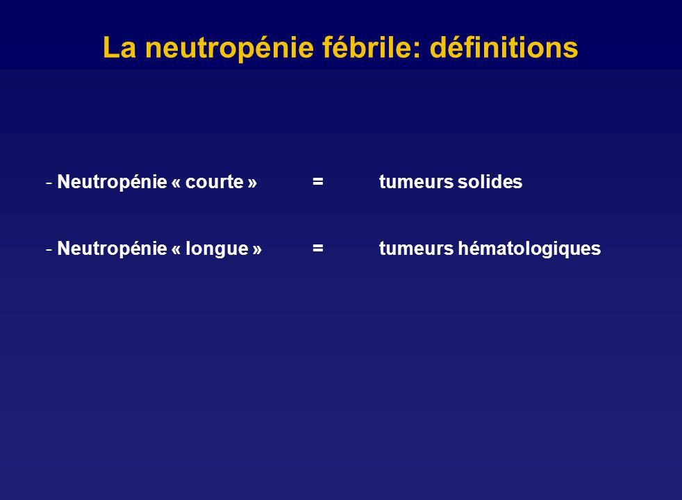 La neutropénie fébrile: définitions - Neutropénie « courte »= tumeurs solides - Neutropénie « longue »= tumeurs hématologiques