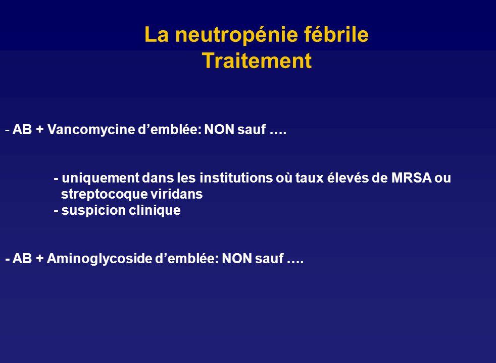 La neutropénie fébrile Traitement - AB + Vancomycine demblée: NON sauf …. - uniquement dans les institutions où taux élevés de MRSA ou streptocoque vi
