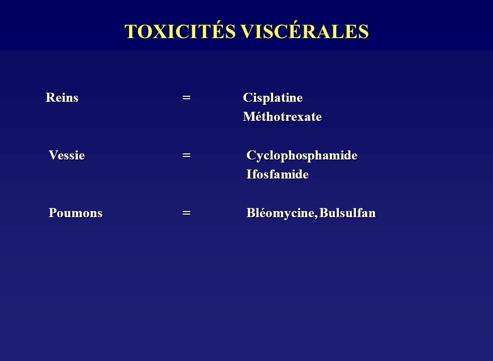 TOXICITÉS VISCÉRALES Reins= Cisplatine Reins= Cisplatine Méthotrexate Méthotrexate Vessie = Cyclophosphamide Vessie = Cyclophosphamide Ifosfamide Ifos