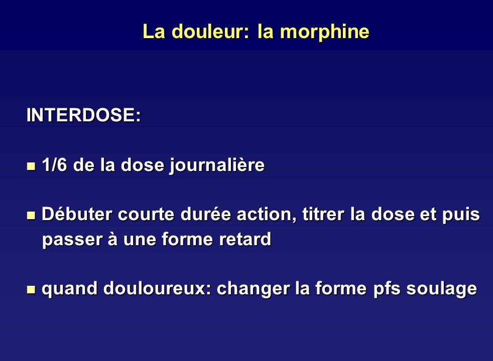 La douleur: la morphine INTERDOSE: 1/6 de la dose journalière 1/6 de la dose journalière Débuter courte durée action, titrer la dose et puis Débuter c