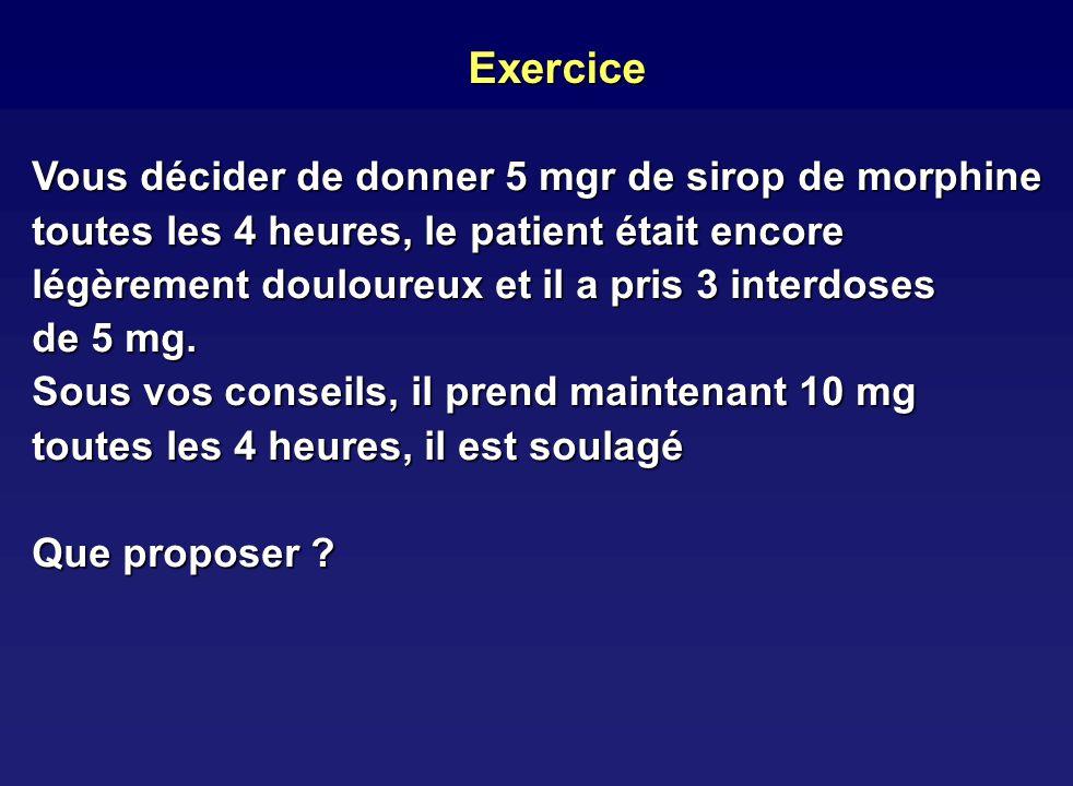 Exercice Vous décider de donner 5 mgr de sirop de morphine toutes les 4 heures, le patient était encore légèrement douloureux et il a pris 3 interdose