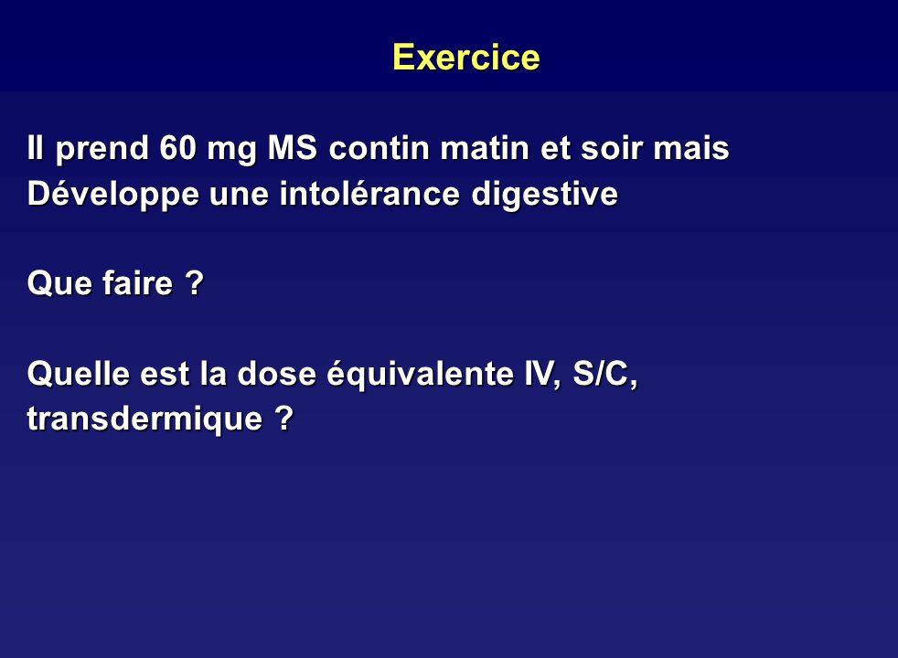 Exercice Il prend 60 mg MS contin matin et soir mais Développe une intolérance digestive Que faire ? Quelle est la dose équivalente IV, S/C, transderm