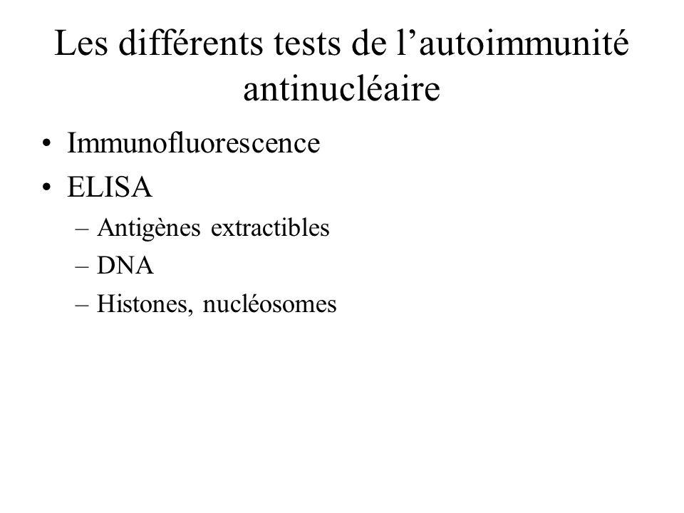 Les différents tests de lautoimmunité antinucléaire Immunofluorescence ELISA –Antigènes extractibles –DNA –Histones, nucléosomes
