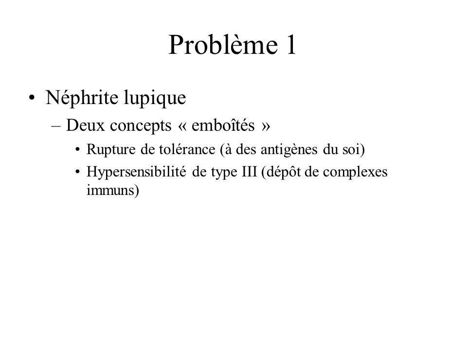 Problème 1 Néphrite lupique –Deux concepts « emboîtés » Rupture de tolérance (à des antigènes du soi) Hypersensibilité de type III (dépôt de complexes