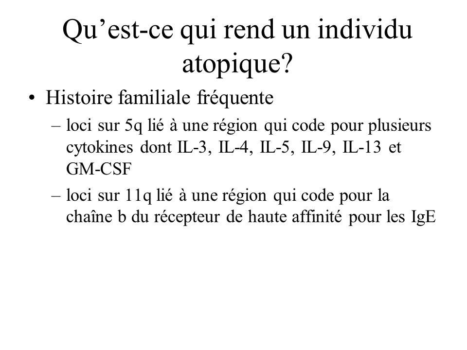 Quest-ce qui rend un individu atopique? Histoire familiale fréquente –loci sur 5q lié à une région qui code pour plusieurs cytokines dont IL-3, IL-4,