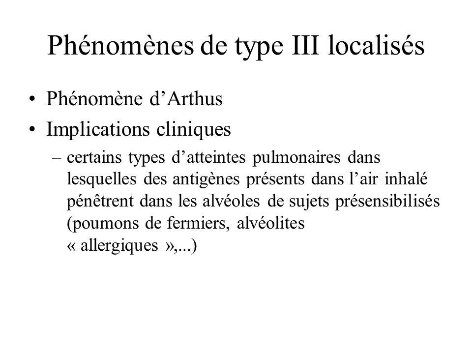 Phénomènes de type III localisés Phénomène dArthus Implications cliniques –certains types datteintes pulmonaires dans lesquelles des antigènes présent