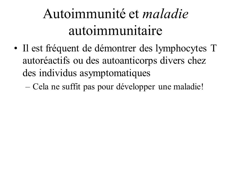 Autoimmunité et maladie autoimmunitaire Il est fréquent de démontrer des lymphocytes T autoréactifs ou des autoanticorps divers chez des individus asy