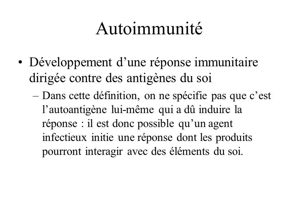 Autoimmunité Développement dune réponse immunitaire dirigée contre des antigènes du soi –Dans cette définition, on ne spécifie pas que cest lautoantig
