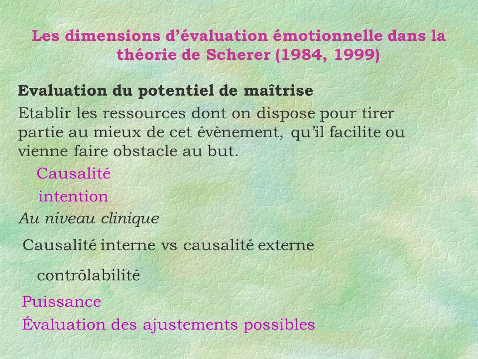 Les dimensions dévaluation émotionnelle dans la théorie de Scherer (1984, 1999) Evaluation du potentiel de maîtrise Etablir les ressources dont on dis