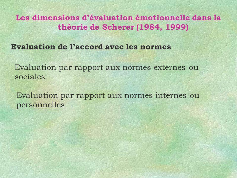 Les dimensions dévaluation émotionnelle dans la théorie de Scherer (1984, 1999) Evaluation de laccord avec les normes Evaluation par rapport aux norme