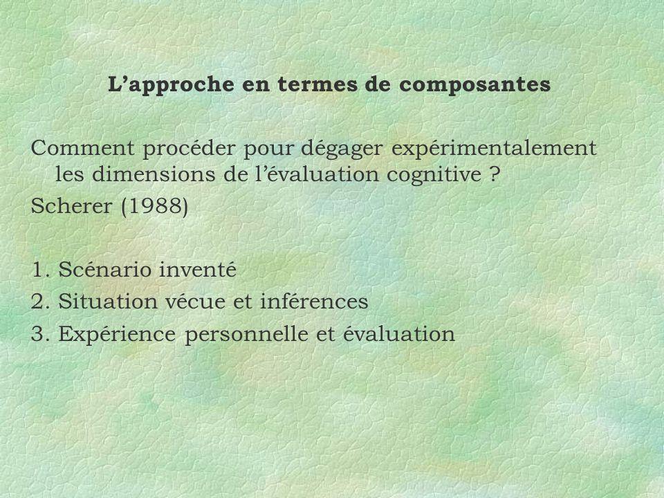 Lapproche en termes de composantes Comment procéder pour dégager expérimentalement les dimensions de lévaluation cognitive ? Scherer (1988) 1. Scénari