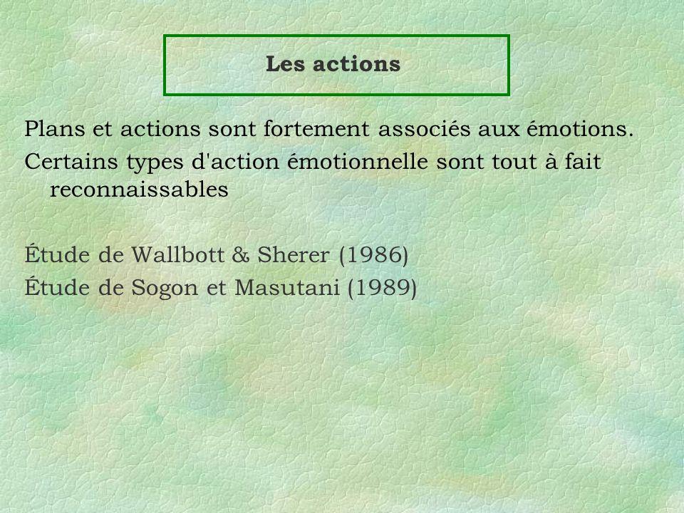 Les actions Plans et actions sont fortement associés aux émotions. Certains types d'action émotionnelle sont tout à fait reconnaissables Étude de Wall