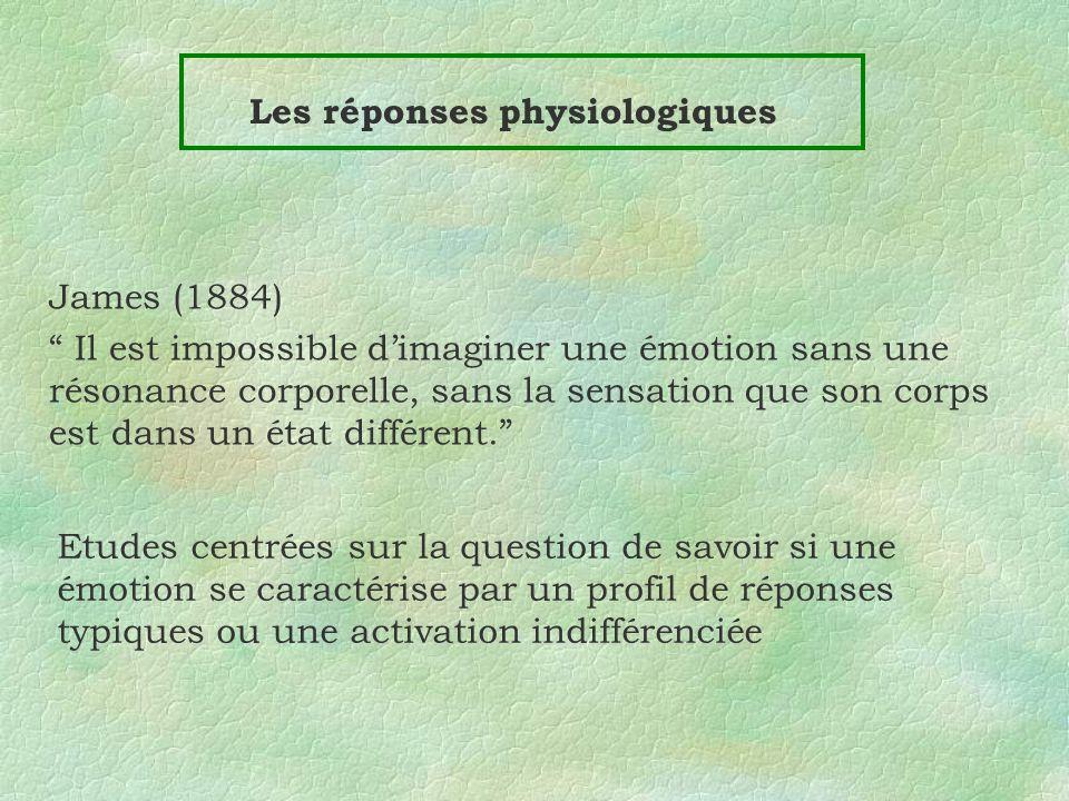 Les réponses physiologiques Etudes centrées sur la question de savoir si une émotion se caractérise par un profil de réponses typiques ou une activati