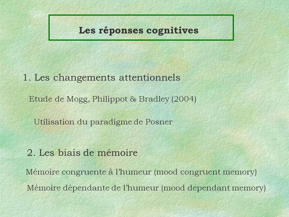 Les réponses cognitives 1. Les changements attentionnels Etude de Mogg, Philippot & Bradley (2004) Utilisation du paradigme de Posner 2. Les biais de