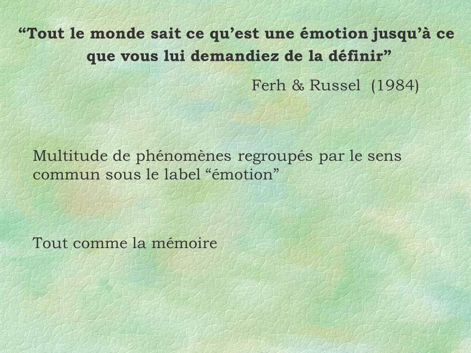 Tout le monde sait ce quest une émotion jusquà ce que vous lui demandiez de la définir Ferh & Russel (1984) Multitude de phénomènes regroupés par le s