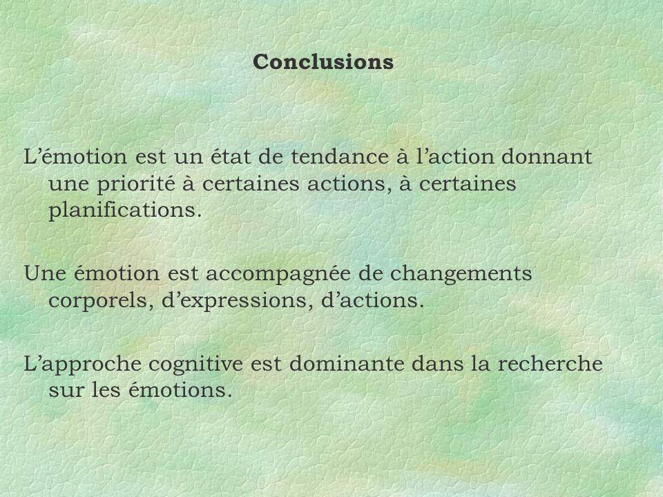 Conclusions Lémotion est un état de tendance à laction donnant une priorité à certaines actions, à certaines planifications. Une émotion est accompagn
