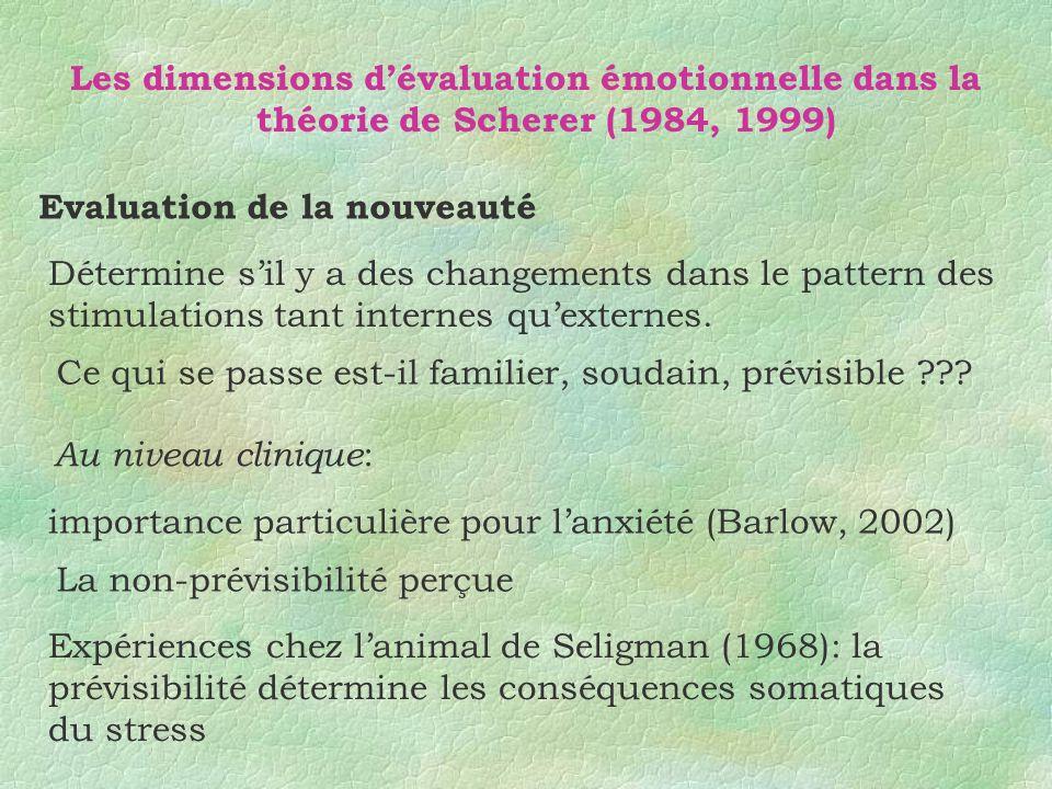 Les dimensions dévaluation émotionnelle dans la théorie de Scherer (1984, 1999) Evaluation de la nouveauté Ce qui se passe est-il familier, soudain, p