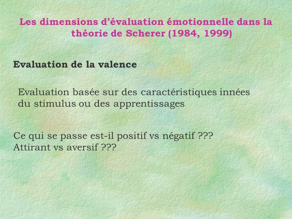 Les dimensions dévaluation émotionnelle dans la théorie de Scherer (1984,1999) Evaluation du rapport aux buts Est-ce pertinent pour mes buts ou besoin ??.