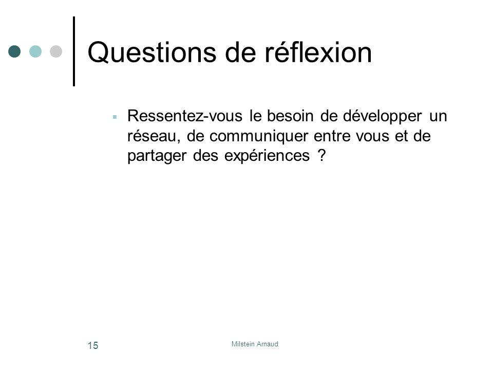Milstein Arnaud 15 Questions de réflexion Ressentez-vous le besoin de développer un réseau, de communiquer entre vous et de partager des expériences ?