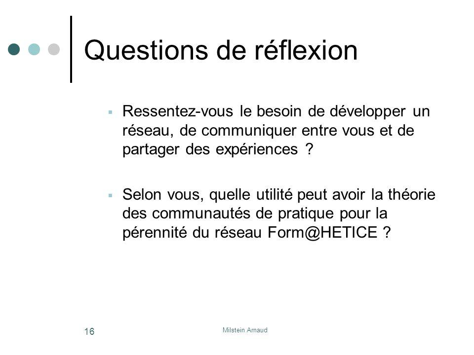 Milstein Arnaud 16 Questions de réflexion Ressentez-vous le besoin de développer un réseau, de communiquer entre vous et de partager des expériences .