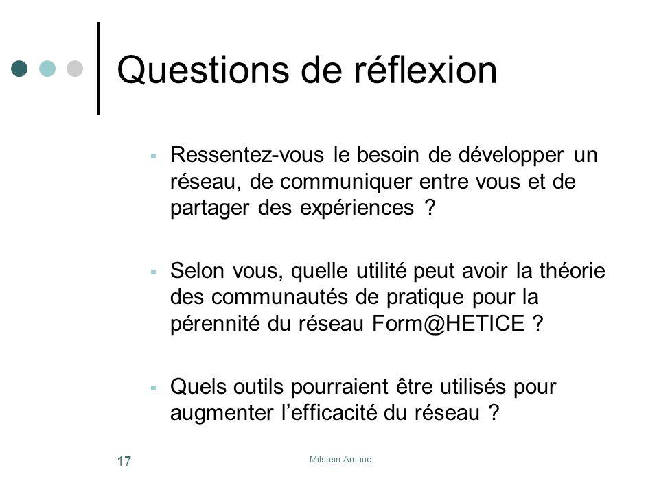 Milstein Arnaud 17 Questions de réflexion Ressentez-vous le besoin de développer un réseau, de communiquer entre vous et de partager des expériences .