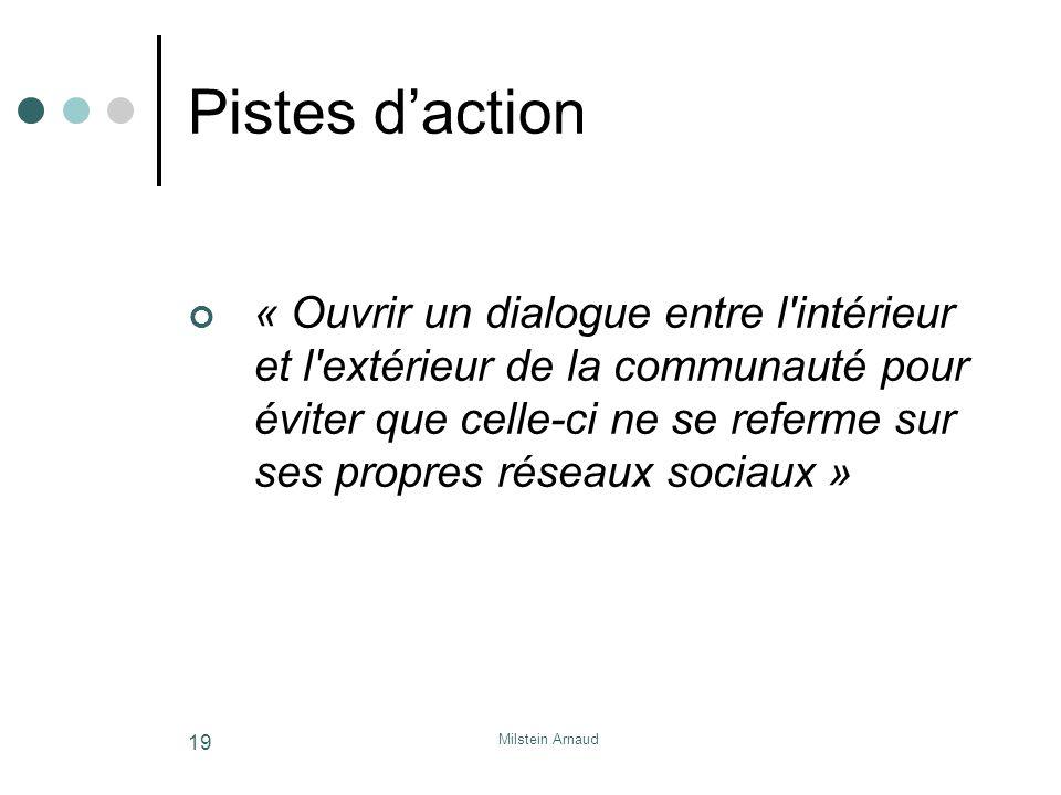 Milstein Arnaud 19 Pistes daction « Ouvrir un dialogue entre l intérieur et l extérieur de la communauté pour éviter que celle-ci ne se referme sur ses propres réseaux sociaux »