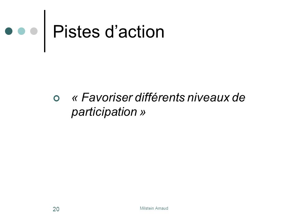 Milstein Arnaud 20 Pistes daction « Favoriser différents niveaux de participation »