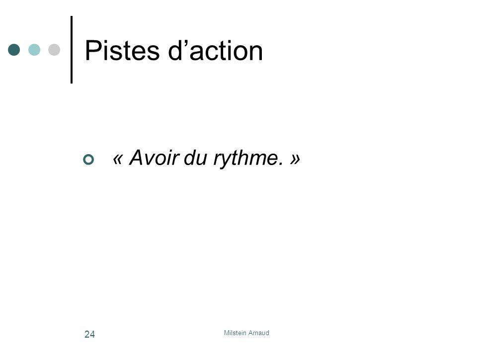 Milstein Arnaud 24 Pistes daction « Avoir du rythme. »