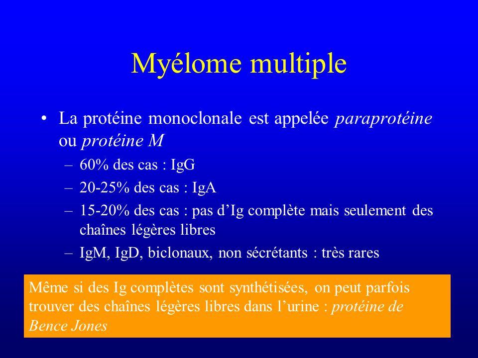 Myélome multiple La protéine monoclonale est appelée paraprotéine ou protéine M –60% des cas : IgG –20-25% des cas : IgA –15-20% des cas : pas dIg com