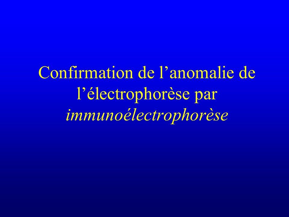 Confirmation de lanomalie de lélectrophorèse par immunoélectrophorèse