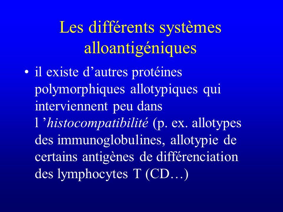 il existe dautres protéines polymorphiques allotypiques qui interviennent peu dans l histocompatibilité (p. ex. allotypes des immunoglobulines, alloty