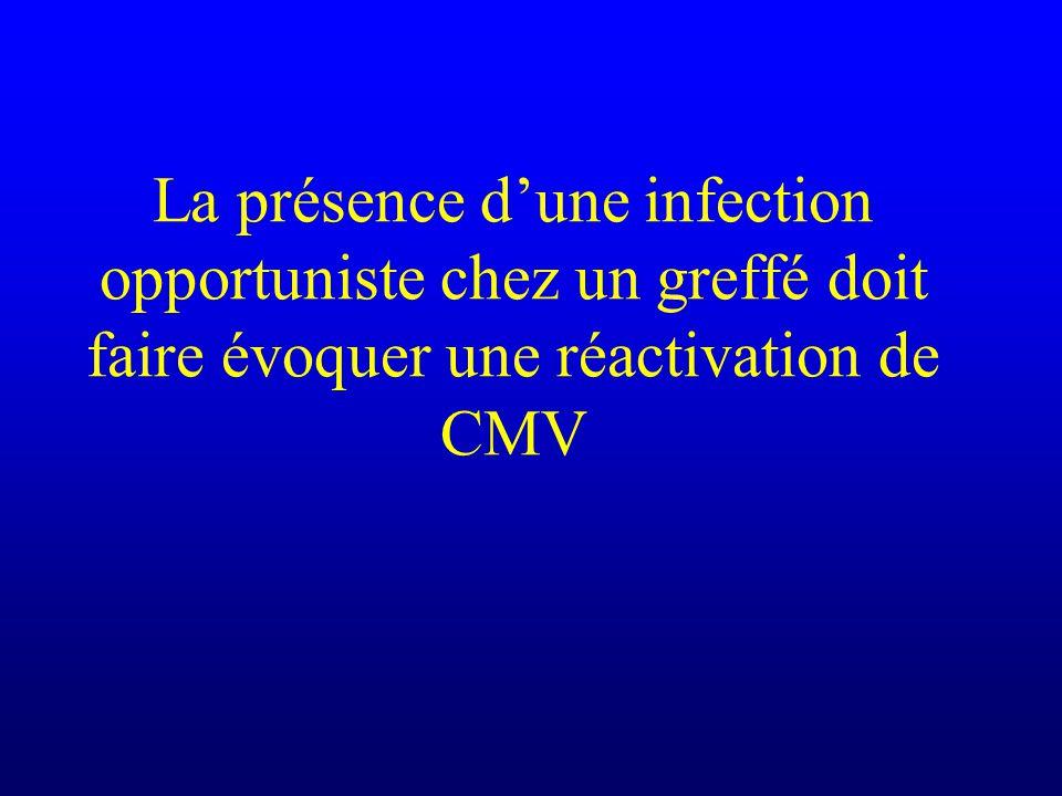 La présence dune infection opportuniste chez un greffé doit faire évoquer une réactivation de CMV