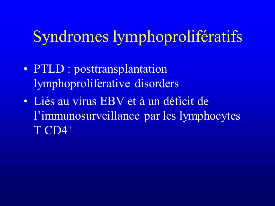 Syndromes lymphoprolifératifs PTLD : posttransplantation lymphoproliferative disorders Liés au virus EBV et à un déficit de limmunosurveillance par le