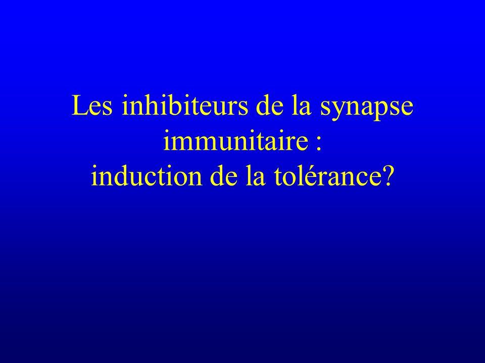 Les inhibiteurs de la synapse immunitaire : induction de la tolérance?