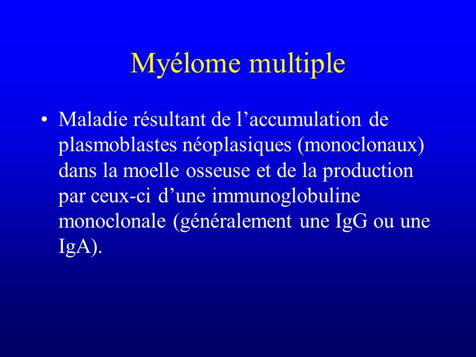 Myélome multiple Maladie résultant de laccumulation de plasmoblastes néoplasiques (monoclonaux) dans la moelle osseuse et de la production par ceux-ci