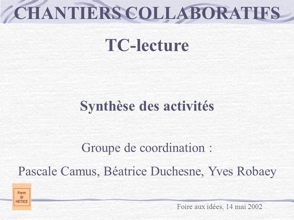 CHANTIERS COLLABORATIFS TC-lecture Synthèse des activités Groupe de coordination : Pascale Camus, Béatrice Duchesne, Yves Robaey Foire aux idées, 14 m