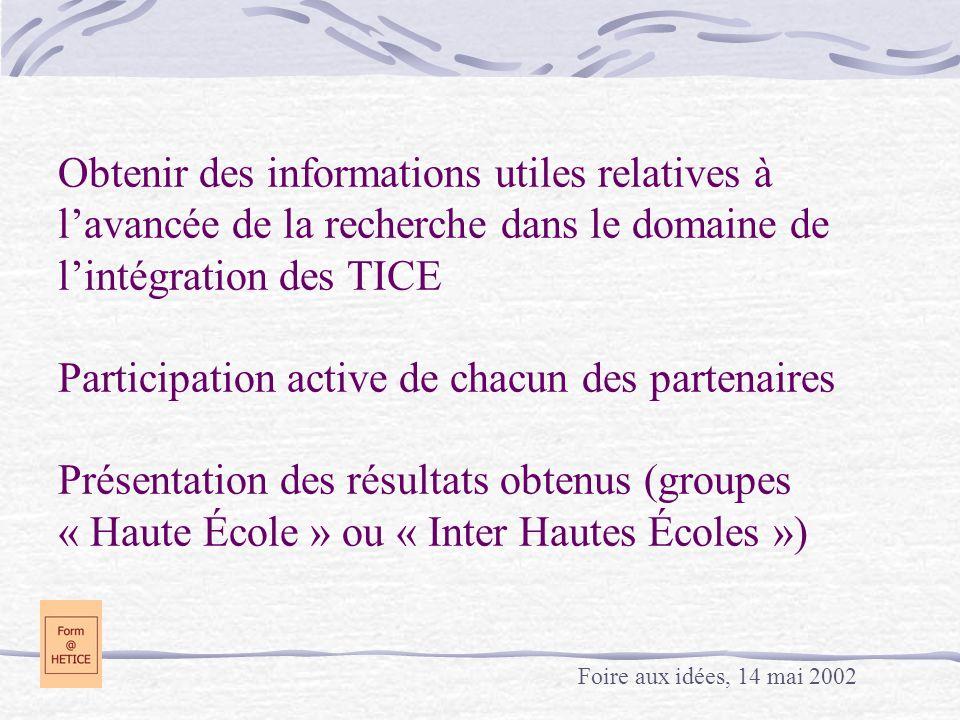 Obtenir des informations utiles relatives à lavancée de la recherche dans le domaine de lintégration des TICE Participation active de chacun des parte