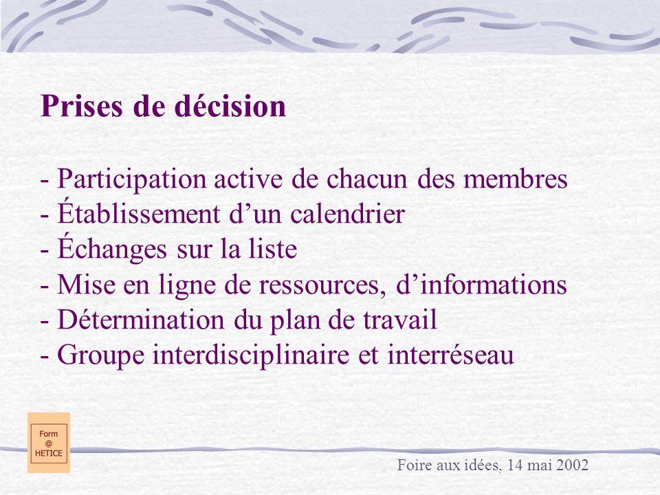 Prises de décision - Participation active de chacun des membres - Établissement dun calendrier - Échanges sur la liste - Mise en ligne de ressources,