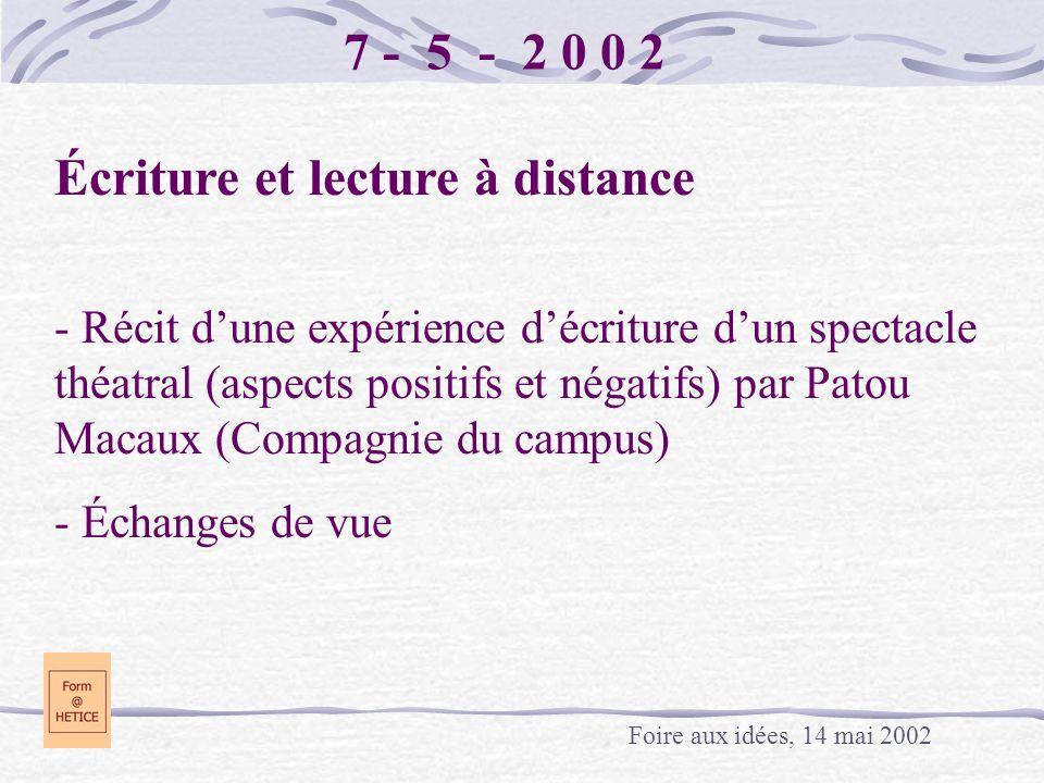 7 - 5 - 2 0 0 2 Écriture et lecture à distance - Récit dune expérience décriture dun spectacle théatral (aspects positifs et négatifs) par Patou Macau