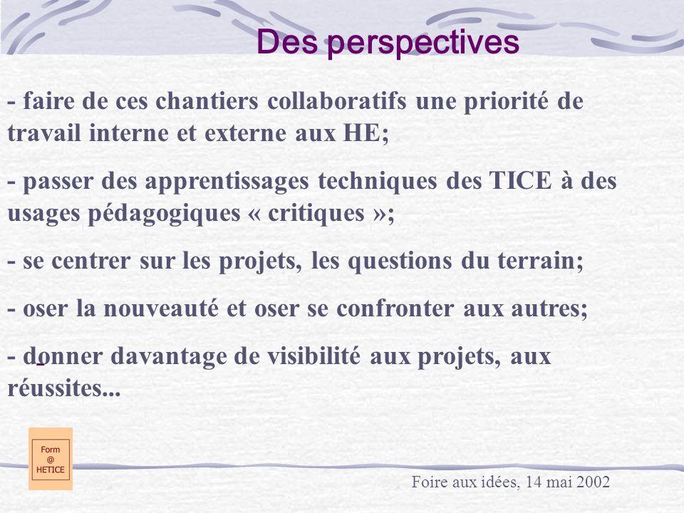 - Des perspectives Foire aux idées, 14 mai 2002 - faire de ces chantiers collaboratifs une priorité de travail interne et externe aux HE; - passer des