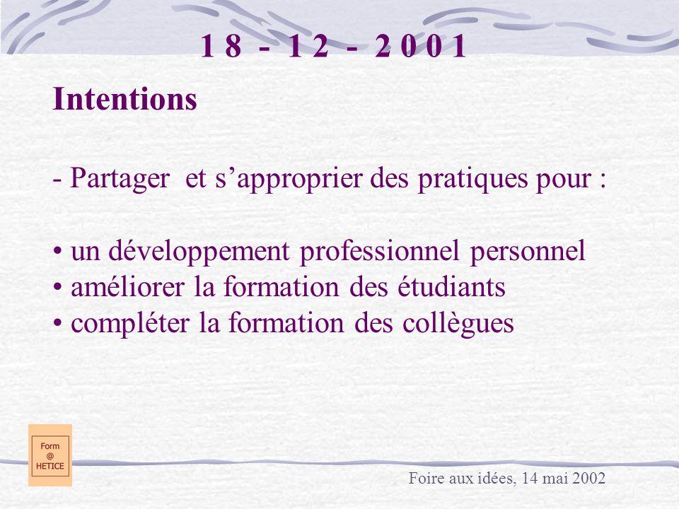 1 8 - 1 2 - 2 0 0 1 Intentions - Partager et sapproprier des pratiques pour : un développement professionnel personnel améliorer la formation des étud